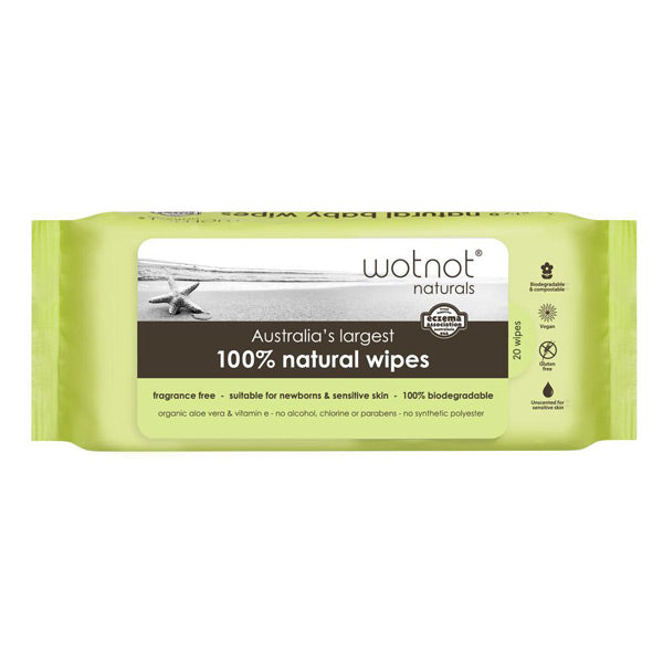 Wotnot Biodegradable Natural Baby Wipes - Soft Travel Pack