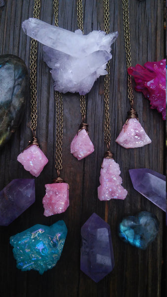 FLASH SALE- abstract cotton candy pink aura druzy necklace, aqua aura, rainbow aura, pink aura crystal necklace