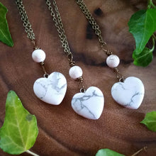 white howlite necklace, white howlite heart, heart chakra, Love stone, heart stone, valentines day gift