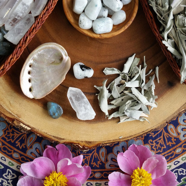 Lunar Smudge kit, smudge starter set, New Moon, Full moon, abalone shell, sage, moonstone