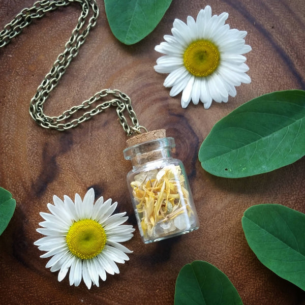 Botanical necklace, clanendula  neckace, flower  bottle Necklace,   crystal necklace, terranium, bottle necklace,  citrine