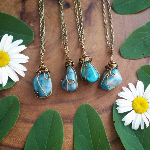 chrysocolla  necklace, chrysocolla ,  blue  crystal necklace, tumbled chrysocolla