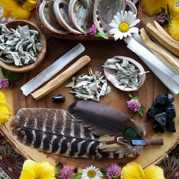 Ultimate Cleansing Smudge kit, smudge starter set, selenite, abalone shell, sage, black tourmaline, smudge fan