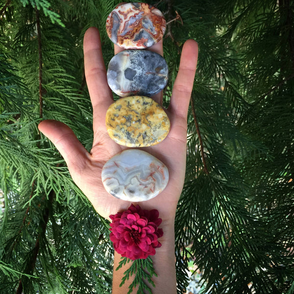 Crazy lace agate palmstone, crazy lace agate, pocket stone, worry stone