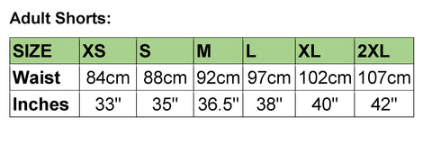 Adult Compression shorts Sizing Chart