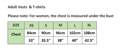 Adults Compression tshirt sizing chart