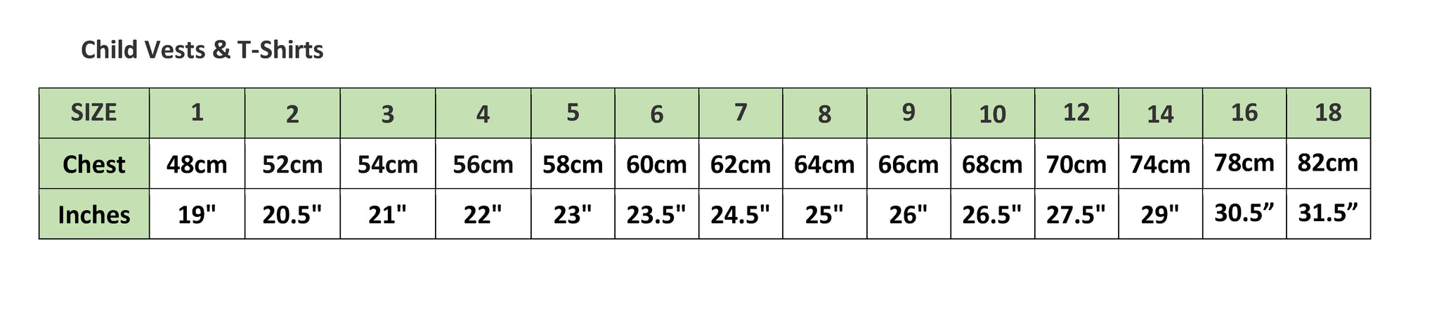 Child Vests and T-shirt Sizing Chart