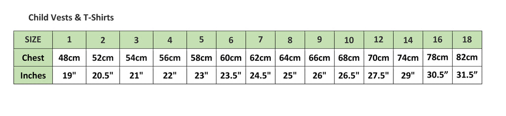Compression Tshirt sizing Chart