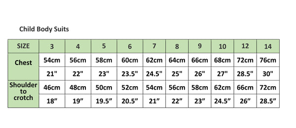 Compression Body Suit Sizing Chart