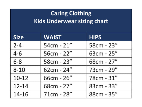 Kids underwear Sizing chart