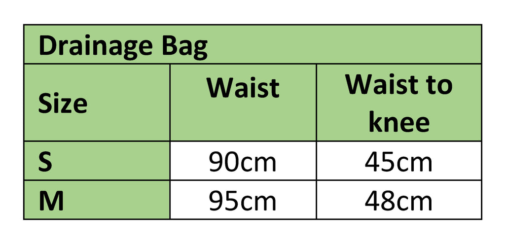Drainage Bag Sizing Chart