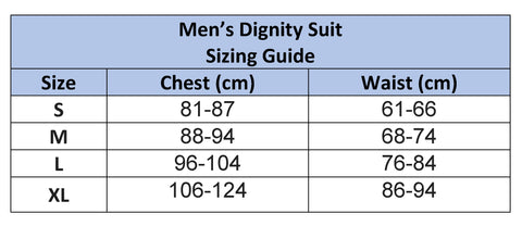 Mens Dignity suit Sizing Chart
