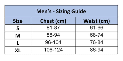 Mens Adaptive Polo Sizing Chart