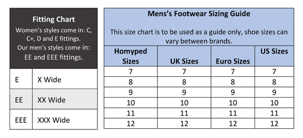 Mens Footwear Sizing Chart