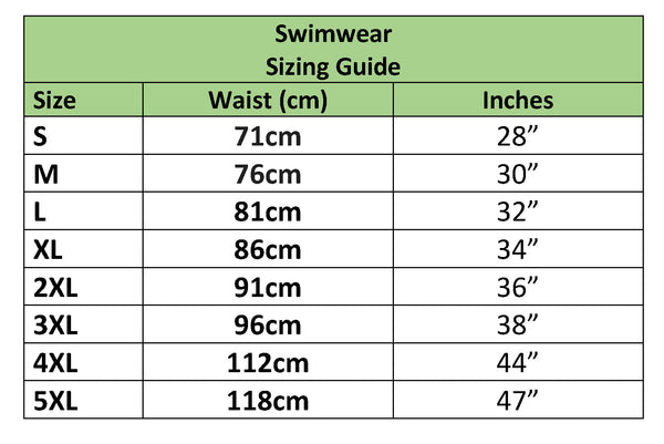 Swimwear sizing chart