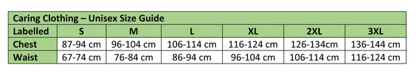 Open back trousers Sizing Chart