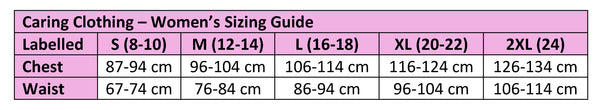 Caring Clothing Cardigan Sizing Chart
