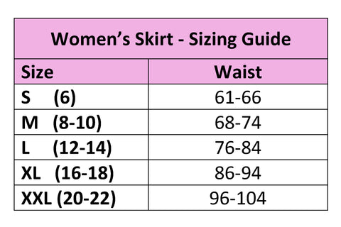 Adaptive Skirt Sizing Chart