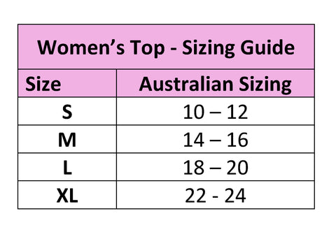 Petal Back Sizing Chart