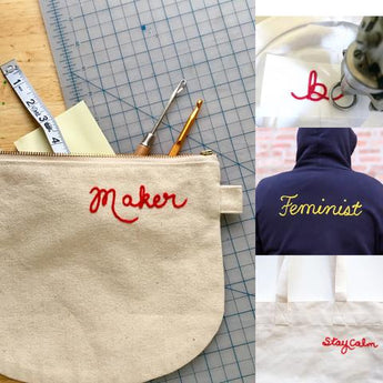 Custom Chainstitch Lettering on Hoodies and Bags