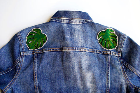monstera deliciosa chainstitch patch on a denim jacket