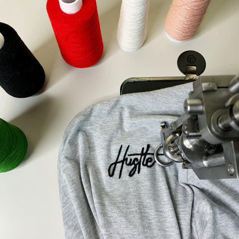 Custom Hustle embroidered tshirt