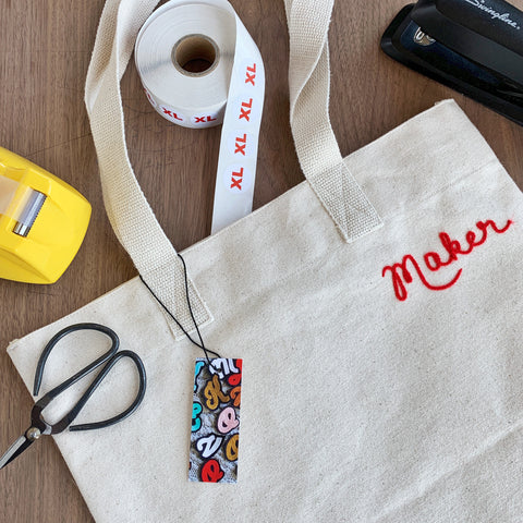 Maker tote with chainstitch embroidery lettering