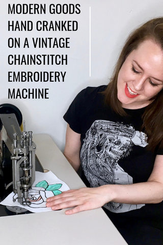 Modern chainstitch embroidery patches, accessories, and home goods hand cranked on a vintage chainstitch embroidery machine
