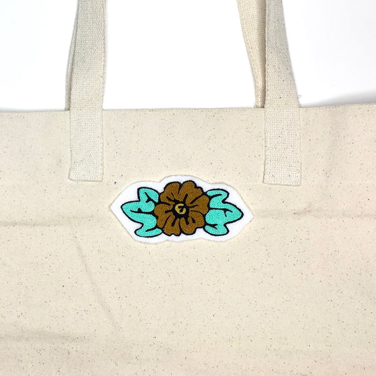 Floral Iron-On Mint Patch Chainstitch Embroidery