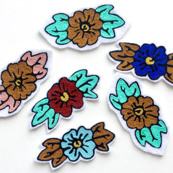 Custom chainstitch embroidery flower iron on patches you choose the color