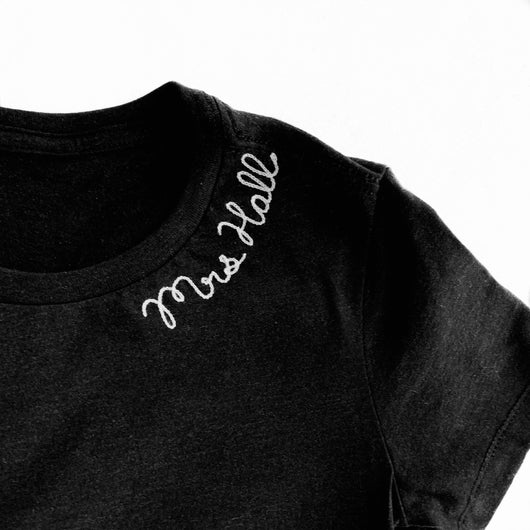 Personalized Chain Stitch T-Shirt with Collar Lettering