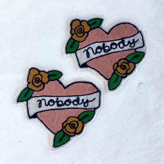 Chainstitch heart iron on patch tattoo with Nobody text banner
