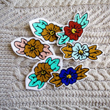 Custom chainstitch embroidery flower iron on patches millenial pink baby blue gold mint green royal blue maroon