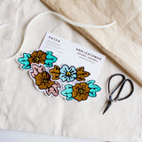 Custom chainstitch embroidery flower iron on patches millenial pink baby blue gold mint green