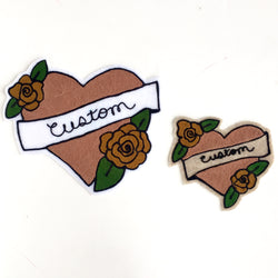 Custom chainstitch tattoo heart banner iron on patch