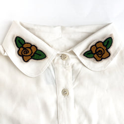 Chainstitch embroidery small rose iron on patches. Set of two green and gold flower patches.