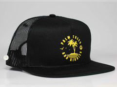 Palm Trees Snapback Trucker Golf Hat - Black