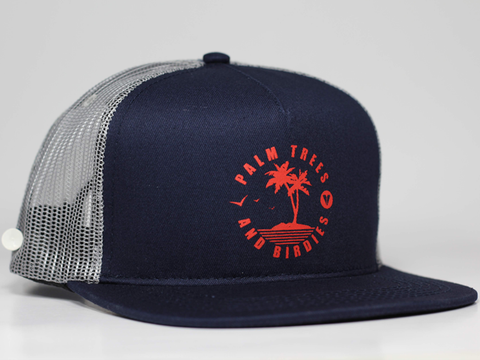Palm Trees Snapback Trucker Hat - Blue