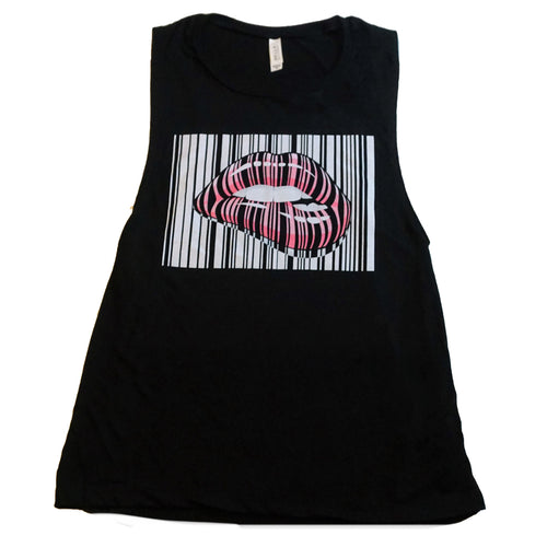 Sick & Sexy Barcode Lips Tank - Black - Best seller!!!