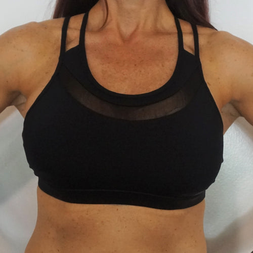 Sexy Strappy Back with Mesh Sports Bra - Black - Only 5 left!!