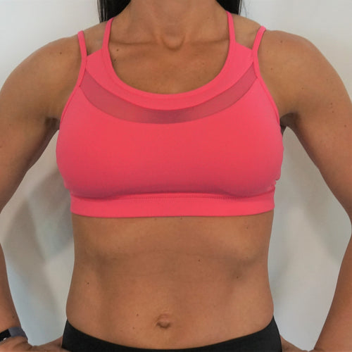 Sexy Strappy Back with Mesh Sports Bra - Pink - Only 2 left!!!