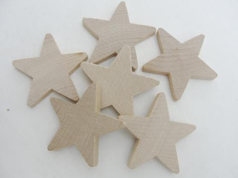 "Traditional 2 inch (2"") wooden stars, 2"" x 1/4"" wood star, unfinished DIY - Wood parts - Craft Supply House"