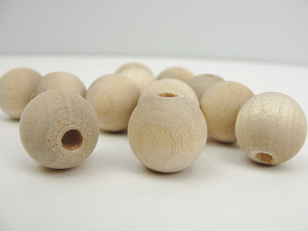 "14mm unfinished round wooden beads 9/16"" (.56"") with 5/32"" hole - Wood parts - Craft Supply House"