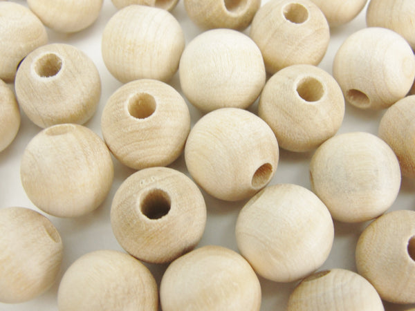 "Wooden round bead 1/2"" (.5"") 12mm unfinished - Wood parts - Craft Supply House"
