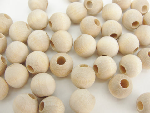 "Wooden round bead 3/8"" (.41"") 10mm with 5/32"" hole"