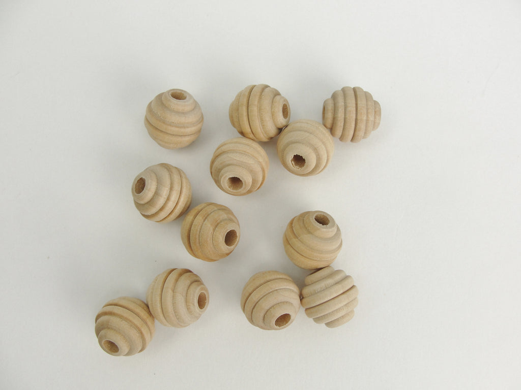 "Wood beehive beads 5/8"" with a 3/16"" hole - Wood parts - Craft Supply House"