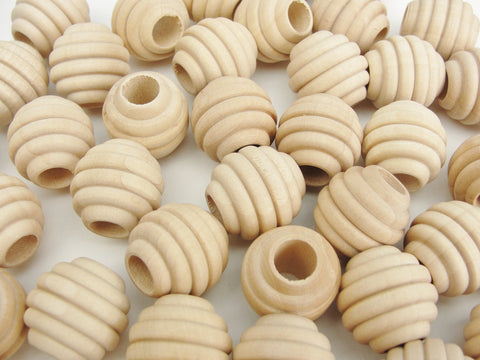 "3/4"" Wooden beehive beads, 3/4"" x 3/4"" with a 5/16"" hole - Wood parts - Craft Supply House"