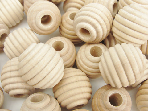 "1"" Wooden beehive beads, 1"" x 1"" with a 5/16"" hole"