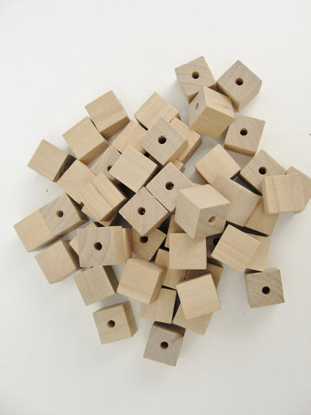 "Wooden square cube beads 1/2"" with a 1/8"" hole set of 6 - Wood parts - Craft Supply House"