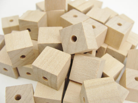 "Wooden square cube beads 1/2"" with a 1/8"" hole set of 6"